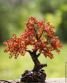 """Купить Бонсай """"Пламенная осень"""" - ярко-красный, осеннее дерево, красный бонсай, красное"""