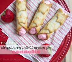 Skinny Strawberry Jell-O Cream Pie Cannolis - I Wash... You Dry