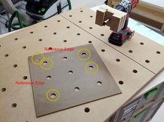 Idea for MFT hole drilling template Woodworking Table Plans, Woodworking Workshop, Woodworking Shop, Paulk Workbench, Workbench Plans, Mobile Workbench, Dog Template, Templates, Shop Dust Collection