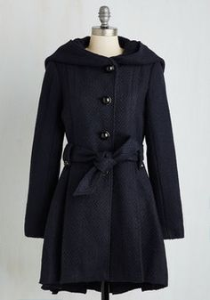 Once Upon a Thyme Coat in Midnight Blue. Like a storybook romance, the elegant details of this Steve Madden coat join together to create a lovable style. #blue #modcloth