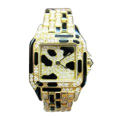 Cartier Lady's Yellow Gold, Diamond and Enamel Panther Bracelet Watch