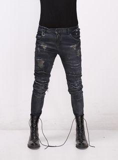 Destroyed Super Skinny Jeans - DarkBlue $36.20 #men #fashion ...