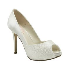 Pink by Paradox London Ivory satin & lace fancy peep toe platform shoe- at Debenhams.ie