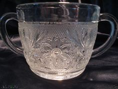 Anchor Hocking depression Sandwich glass Cream & Sugar