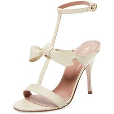 RED Valentino Women's Leather T-Strap Sandal - Cream/Tan, Size 37 ($219) ❤ liked on Polyvore featuring shoes, sandals, high heel shoes, wrap sandals, leather sandals, cream sandals and wrap around ankle sandals