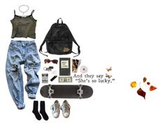 """She´s so lucky"" by hannah-moonchild on Polyvore featuring Mode, Levi's, Golden Goose, AllSaints, Gucci, Monki, BOBBY, Hansel from Basel, grunge und 90s"