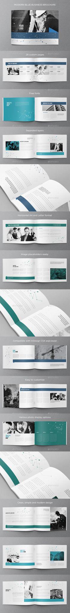 Modern Blue Business Brochure (CS4, 8.5x11, a4, blue, brochure, business, clean, corporate, flexible, letter, minimal, modern, professional, simple, white)