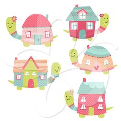 Turtle House - Home Sweet Home - Clip Art Set $4