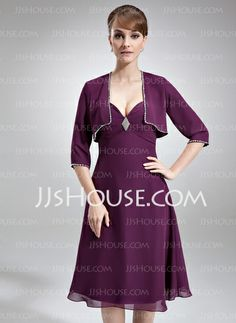 Mother of the Bride Dresses - $113.59 - A-Line/Princess Sweetheart Tea-Length Chiffon Mother of the Bride Dress With Ruffle (008006148) http://jjshouse.com/A-Line-Princess-Sweetheart-Tea-Length-Chiffon-Mother-Of-The-Bride-Dress-With-Ruffle-008006148-g6148