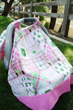 Pink and Green Plaid John Deere Baby Car Seat by thelilredwagon, $27.95