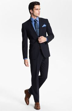 Suitably Suited : wedding black suit blue tie grrom attire suit ...