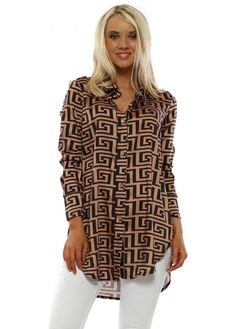 Channel chic vibes in this black and copper greek key print shirt. Going Out Tops, Greek Key, Polyester Satin, Black Boots, Printed Shirts, Shirt Blouses, Art Drawings, How To Make, How To Wear