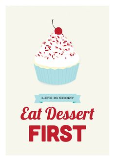 Eat Dessert First kitchen art print red & blue by GraphicAnthology, $18.00