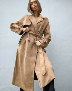 Stradivarius long double breasted belted coat in camel Safari, Asos, Magazine Mode, Tailored Coat, Belted Coat, Double Breasted, T Shirts, Cover Up, Denim
