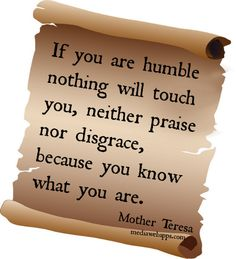 If you are humble nothing will touch you, neither praise nor disgrace, because you know what you are. ~ Mother Teresa