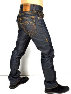 True Religion $329 Mens Ricky Straight Super T Raw Denim Jeans  M859NYJ6