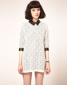 Leather Collar And Cuffs Lace Dress