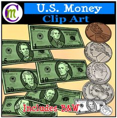 U.S. Currency Clipart This US Money clipart set includes standard bill notes in denominations of 1, 5, 10, 20, 50, and 100. Included coins are penny, nickel, dime, and quarter. Color as well as white-filled black lines are included for