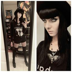 """""""Very casual ootd! Love these contacts from @candylensdotcom and necklace from @restyle.pl! Review on the contacts coming soon!  #ootd #goth #gothgirl…"""""""