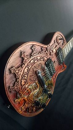 Indonesian carved guitar