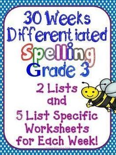 Spelling Word Study 30 Differentiated Units & List Specific Worksheets