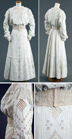 ~White linen Hardanger-embroidered dress, ca. and white pearl beaded… Edwardian Era Fashion, Edwardian Clothing, 1900s Fashion, Antique Clothing, Historical Clothing, Vintage Fashion, Hardanger Embroidery, White Embroidery, Vintage Gowns