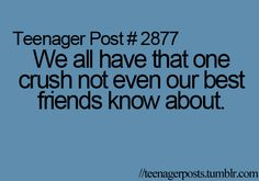 I'm not a teenager, but I do have a crush that none of my friends know about...lol!