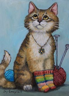 Cat Kitten socks knitting ACEO print from original oil by Joy Campbell #Realism