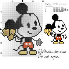 Mickey Mouse Disney Cuties free cross stitch pattern 40x53 5 colors
