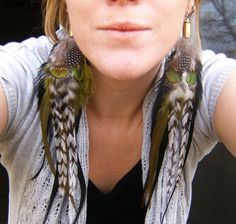 Make Long Feather Earrings | Olive Roots Long Feather Bullet Earrings by xVELVETx on Etsy