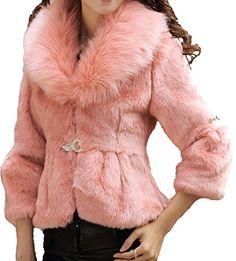 Helan Women's Rex Rabbit Fur Coat Wit…