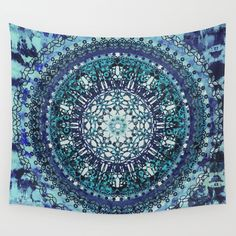 Multiple layers of Mandala patterns mixed with layers of Tie Dye texture in Aqua, Mint and Blue.
