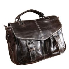 47.29$ Buy now - http://aliohk.worldwells.pw/go.php?t=32691858037 - Fashion On Hands! Large Capacity Men's Handbags Oil Wax Genuine Leather Messenger Bag Brand Top Grade Laptop Shoulder Bag CH037 47.29$