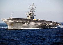 USS Ronald Reagan conducts rudder checks in October 2007, as part of the ship's periodic inspection