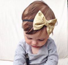 Metallic gold baby bow headband on Etsy, $6.00 turbans for tots has the most adorable headbands/bows for babies & adults!