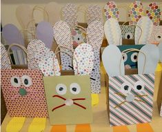 Easter Ideas - These bunny gift bags are such a fun craft for kids to make for easter. That's all you need is patterned scrapbook paper, brown giftbags, pipe cleaners, markers and glue.