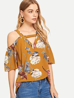 Boho Floral Top Regular Fit Straps Half Sleeve Pullovers Yellow Regular Length Open Shoulder Cut Out Floral Blouse Sweet 16 Outfits, Pretty Outfits, Casual Outfits, Floral Blouse, Floral Tops, Look Fashion, Fashion Outfits, Mode Boho, Nursing Dress