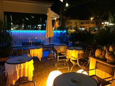 a pleasant beer-garden where you can sip a nice cold drink, while choosing from one of the lovely handmade piadina.
