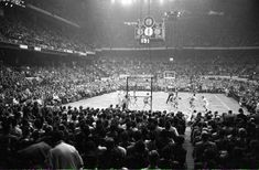 SI Vault ‏ Feb 10 More A view of the Boston Garden during a 1957 Celtics-Hawks (St. Louis, not Atlanta) game. The baskets seem much safer now. Nba, Manchester United Stadium, Boston Garden, Good Ole, Vaulting, First Photo, New England, Celtic, The Unit