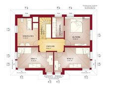 The single-family house Evolution 154 appears in a modern design with pitched roof. Even at the first sight, the color scheme is white and red. 5 Bedroom House Plans, House Floor Plans, Small House Design, Modern House Design, Haacke Haus, Keitel Haus, Living Haus, House Construction Plan, Beautiful House Plans