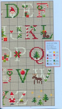 Brilliant Cross Stitch Embroidery Tips Ideas. Mesmerizing Cross Stitch Embroidery Tips Ideas. Xmas Cross Stitch, Cross Stitch Letters, Counted Cross Stitch Patterns, Cross Stitch Charts, Cross Stitch Designs, Cross Stitching, Cross Stitch Embroidery, Christmas Alphabet, Theme Noel