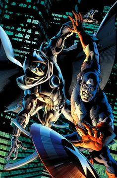 Moon Knight & Captain America by Bryan Hitch