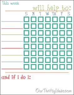 Customize your own chore chart. Print this template and put in your kids' name and tasks.