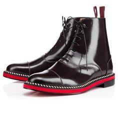 Christian Louboutin joensu flat Lie de Vin Leather Mens Boots