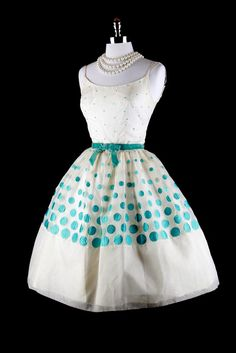 I would look daft in this but I love it!                                  Vintage 50s Dress - White Organza with Blue Polka Dots via millstreetvintage on Etsy.