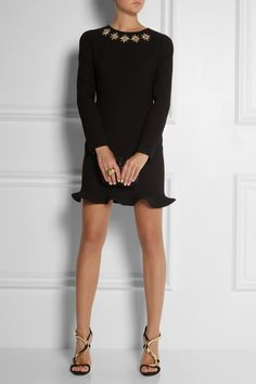 ALEXANDER MCQUEEN Embellished wool-crepe dress $2,460