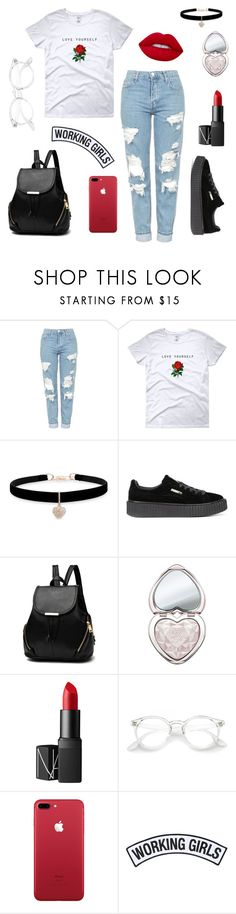 """""""Untitled #31"""" by paulinahr ❤ liked on Polyvore featuring Topshop, Betsey Johnson, Puma, Too Faced Cosmetics, NARS Cosmetics, Working Girls and Lime Crime"""