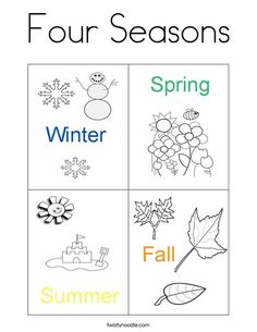 Four Seasons Coloring Page from TwistyNoodle.com
