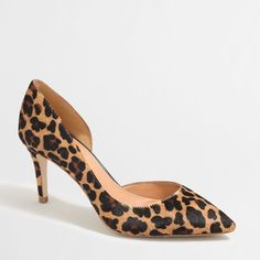 J.Crew Factory calf hair d'Orsay pumps ($69) ❤ liked on Polyvore featuring shoes, pumps, high heel pumps, calf hair shoes, d'orsay pumps, pony hair shoes and dorsay pump