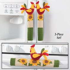 Rooster and Sunflower Appliance Handle Covers Cd Crafts, Felt Crafts, Fabric Crafts, Diy And Crafts, Fridge Handle Covers, Refrigerator Covers, Diy Christmas Fireplace, Christmas Crafts, Sewing To Sell